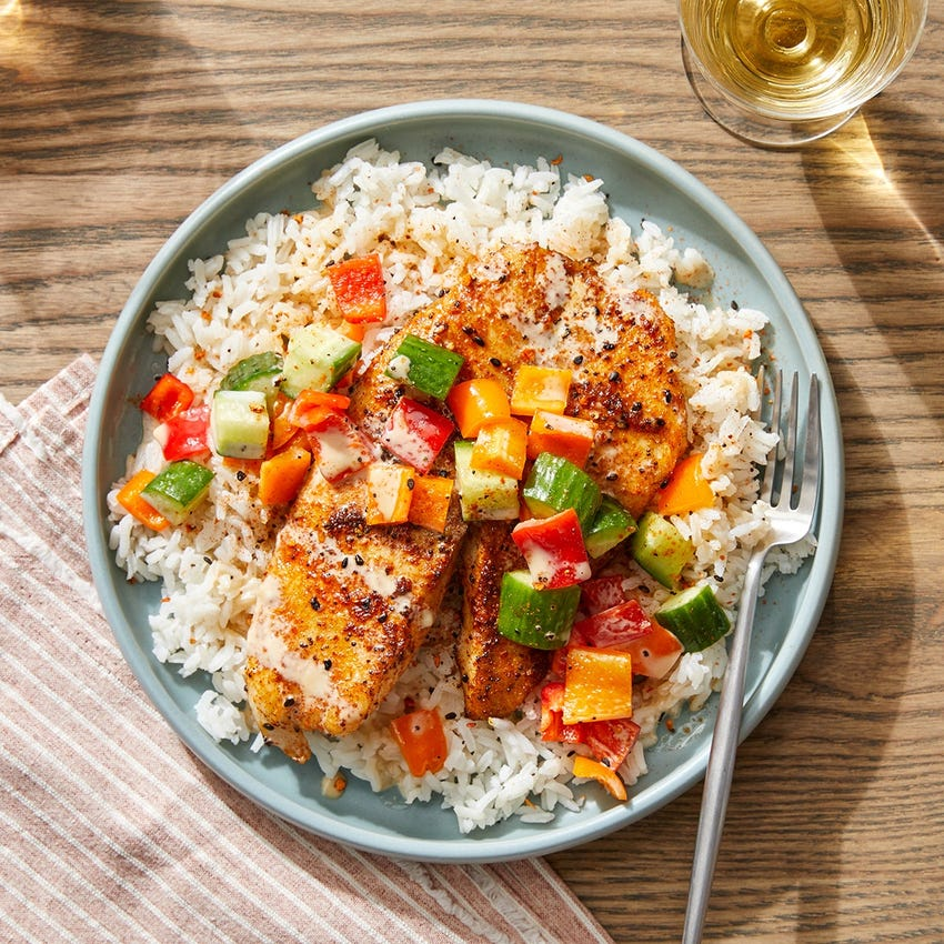 Seared Fish & Ponzu Mayo with Marinated Vegetables & Garlic Rice