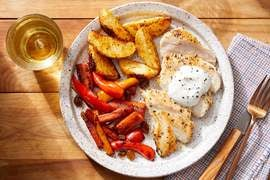 Seared Chicken & Goat Cheese Sauce with Roasted Potatoes & Carrot-Pepper Agrodolce