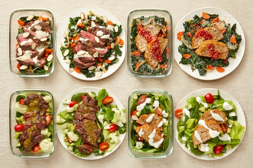 Carb Conscious with Seared Steaks & Turkey Meatloaf