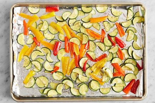 Roast the vegetables & finish the farro: