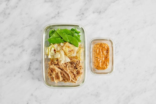 Assemble & Store Shredded Chicken Tacos: