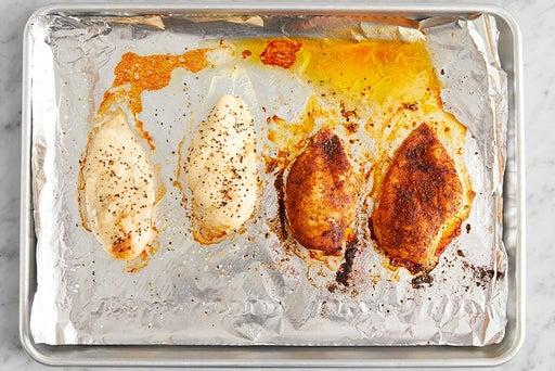 Bake & slice the chicken: