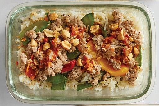Finish & Serve the Pork & Spicy Peanut Sauce: