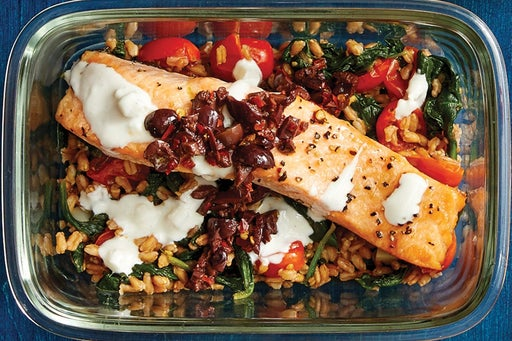 Finish & Serve the Mediterranean Salmon & Farro: