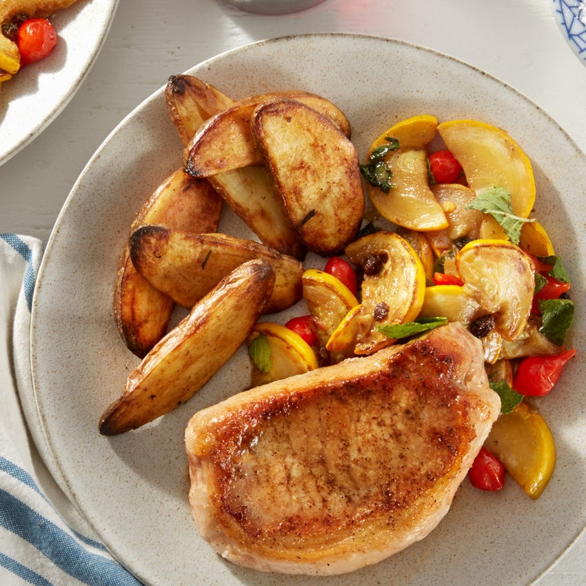 Pork Chops & Rosemary Potatoes with Summer Squash Agrodolce
