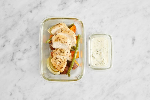 Assemble & Store the Roasted Chicken & Vegetables: