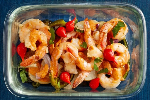Finish & Serve the Shrimp & Roasted Vegetables: