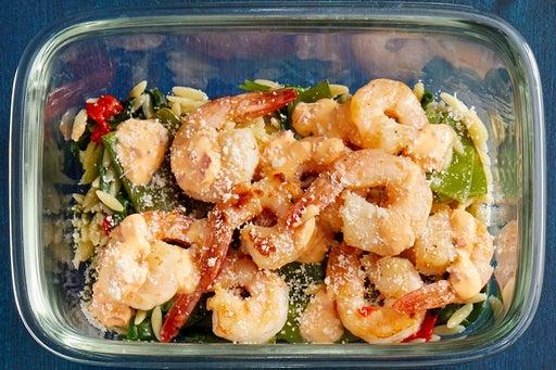 Finish & Serve the Italian-Style Shrimp & Orzo: