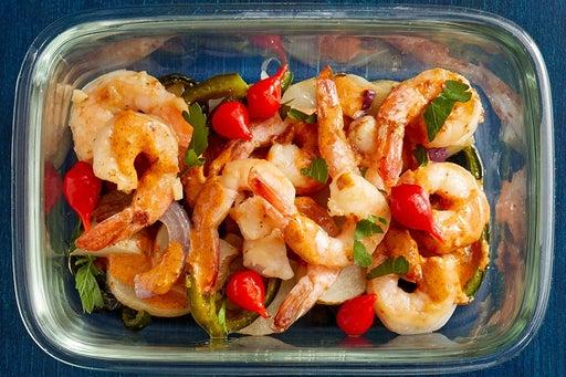 Finish & Serve the Shrimp & Roasted Vegetables: