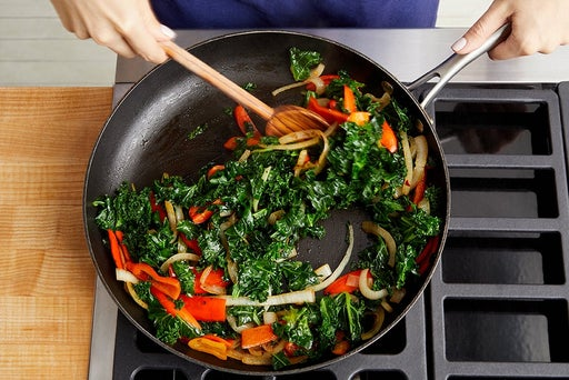 Cook the peppers & kale: