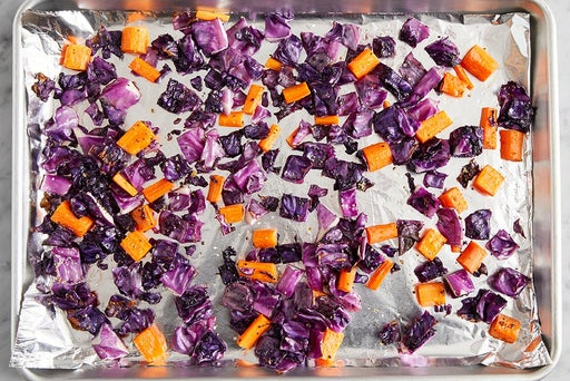 Roast the carrots & cabbage: