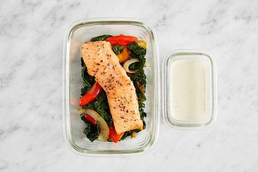 Assemble & Store the Salmon & Sautéed Vegetables: