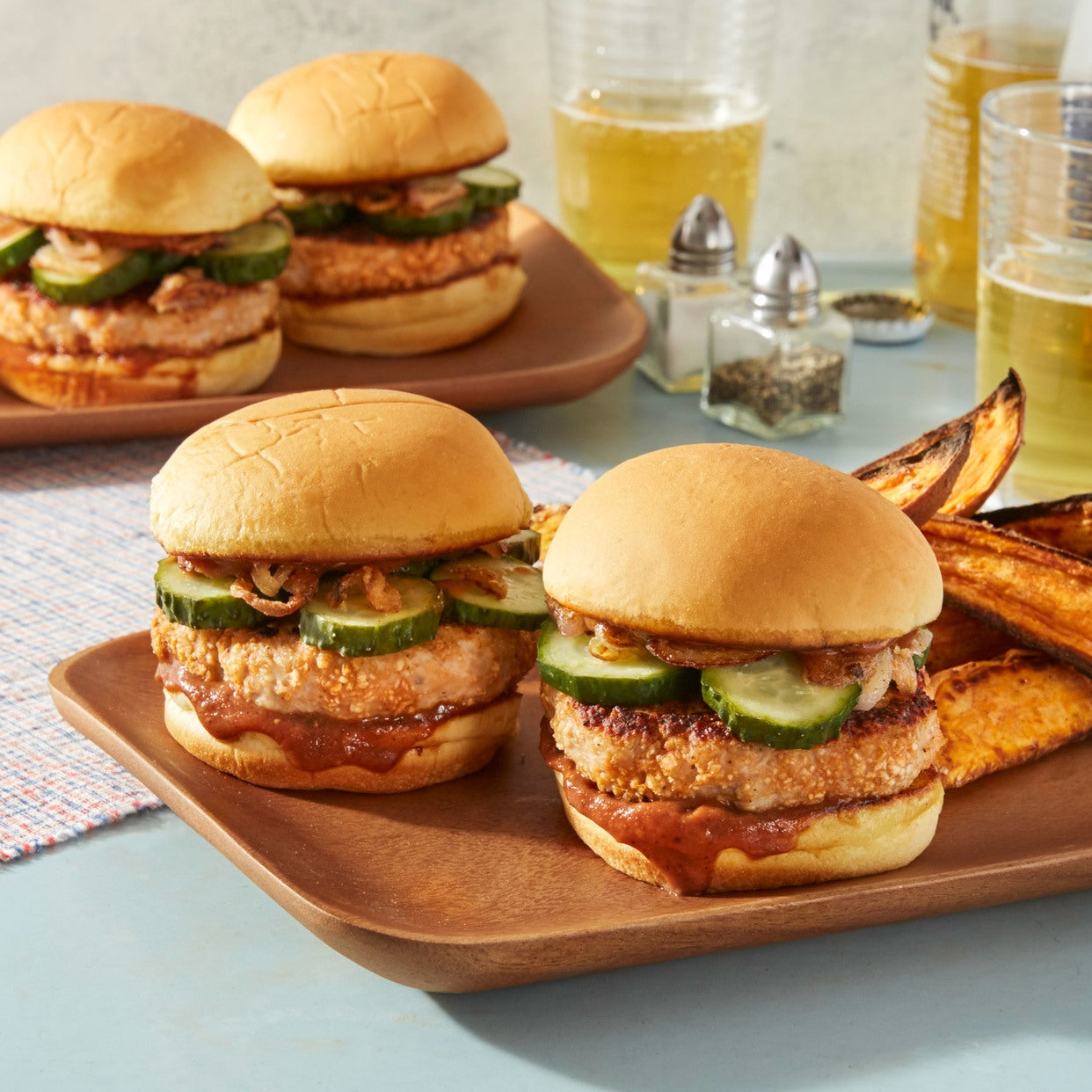 BBQ Chicken Sliders with Crispy Shallot, Quick Pickles, & Sweet Potato Wedges