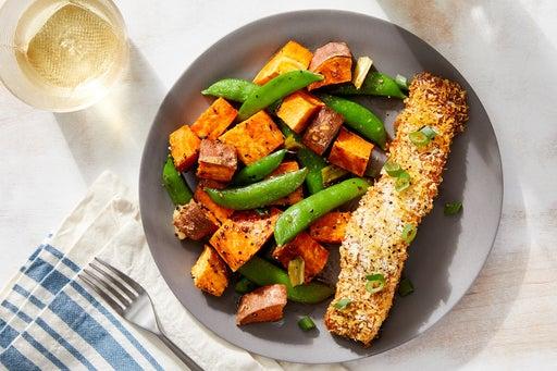 Crispy Curry-Roasted Salmon with Ponzu-Dressed Sweet Potatoes & Snap Peas