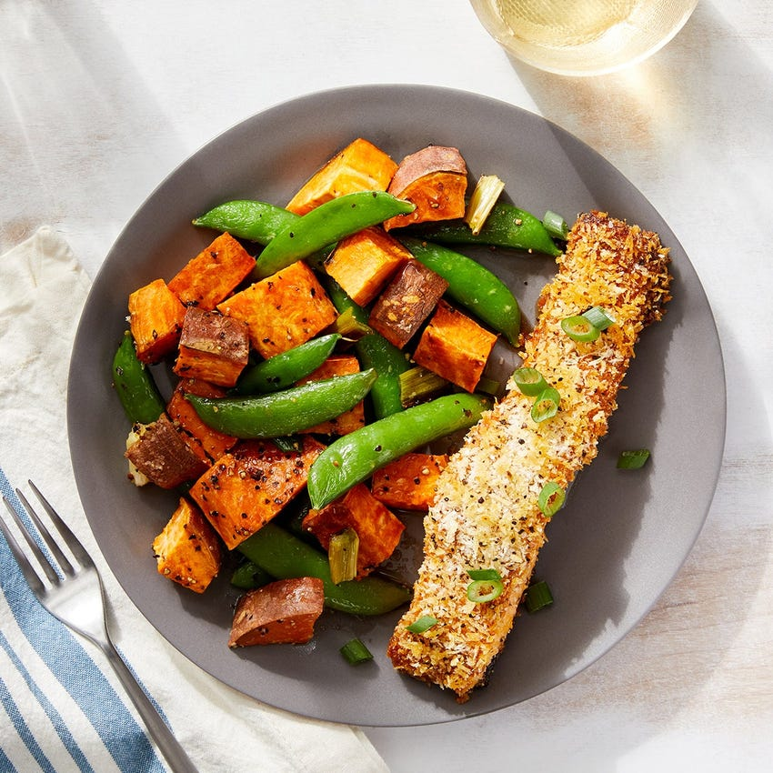 Crispy Curry-Roasted Salmon with Ponzu-Dressed Sweet Potatoes & Snap Peas