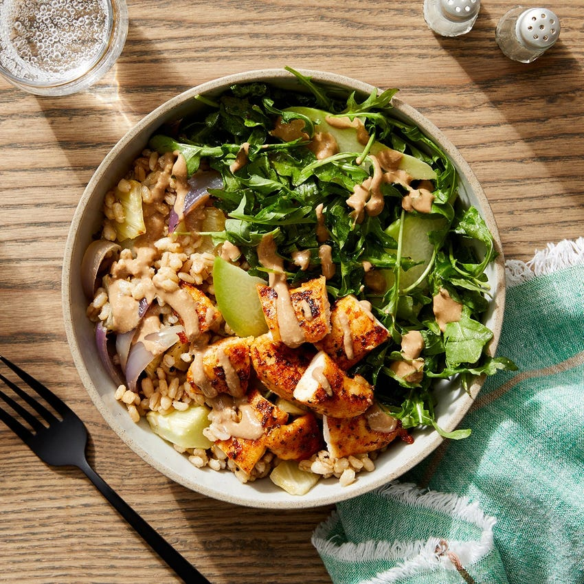 Tahini-Balsamic Chicken Bowls with Barley, Arugula & Pear