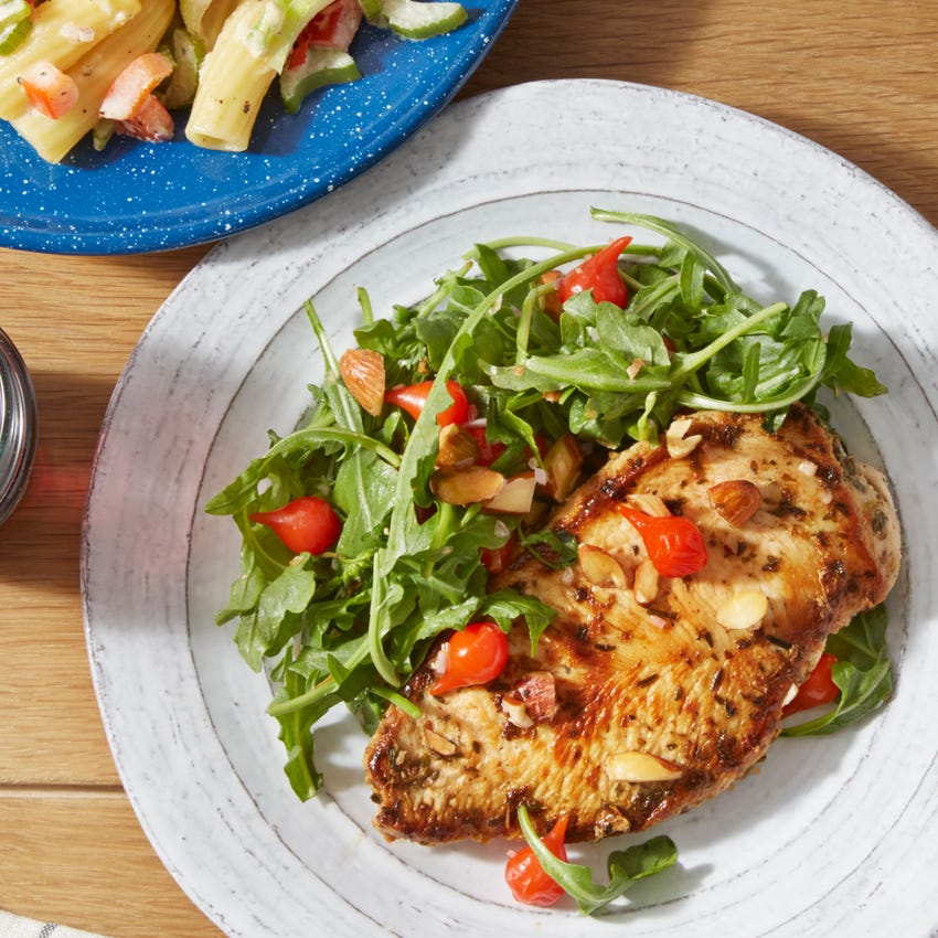 Vinaigrette-Marinated Chicken with Baby Greens & Pasta Salad