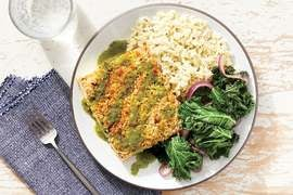 Pepita & Panko-Crusted Tofu with Rice & Cilantro Sauce