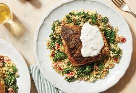 Za'atar-Spiced Salmon with Mediterranean Couscous & Greek Yogurt