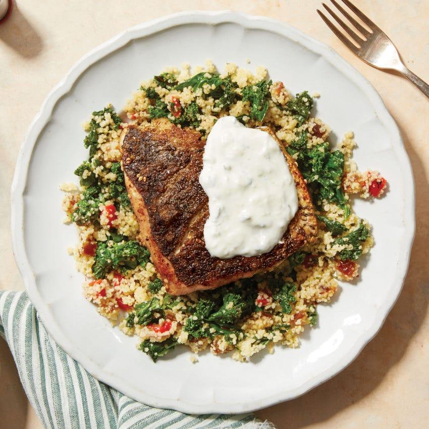 Za'atar-Spiced Salmon with Mediterranean Couscous & Greek Yogurt