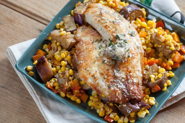 Tilapia with Shallot-Tarragon Butter over Corn & Japanese Eggplant