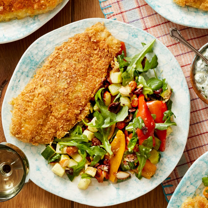 Potato-Crusted Catfish & Garlic Chive Sauce with Summer Squash & Arugula Salad