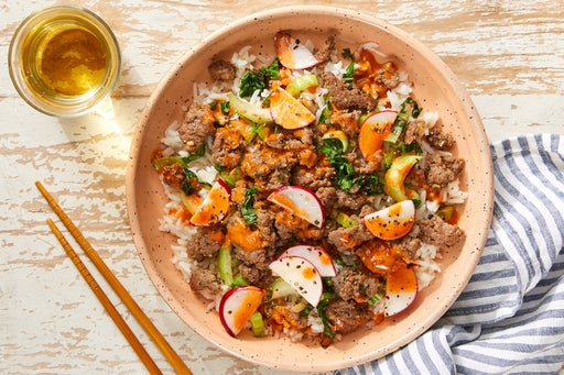 Savory Beef & Rice Bowls with Bok Choy & Spicy Mayo