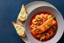 Provençal-Style Salmon & Shrimp with Aromatic Broth & Saffron Toast