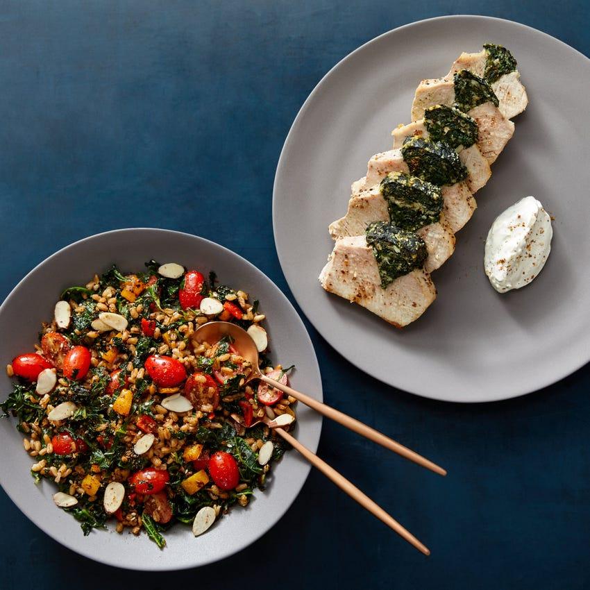 Spinach & Goat Cheese-Stuffed Pork Roast with Tzatziki & Warm Farro Salad