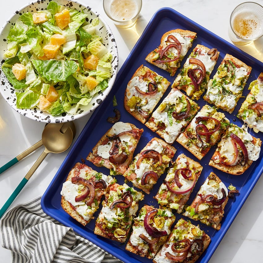 Cheesy Focaccia Pizza with Brussels Sprouts & Caramelized Onion