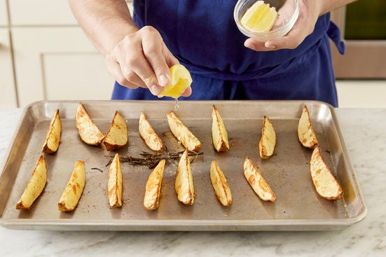 Roast & finish the potatoes: