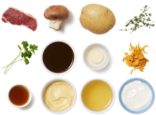 Grass-Fed NY Strip Steaks with Mushrooms, Thyme Butter & Potato Rösti