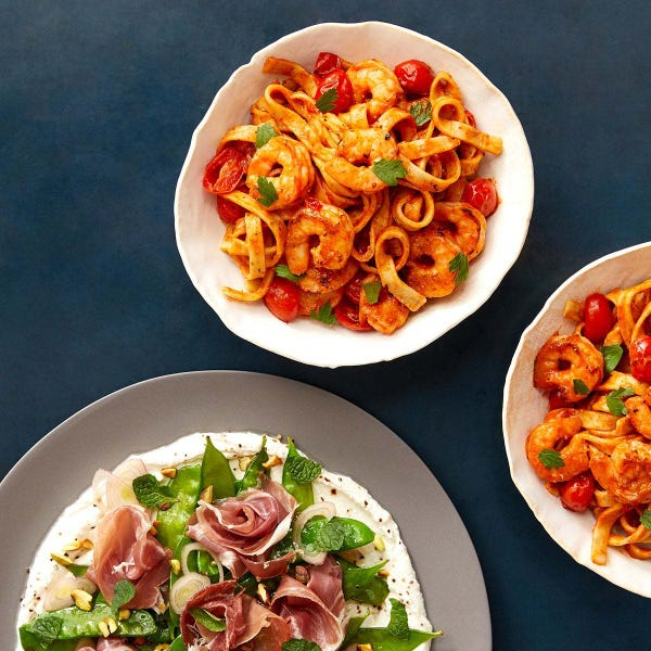 Calabrian Shrimp & Fresh Fettuccine with Prosciutto, Snow Pea & Ricotta Salad
