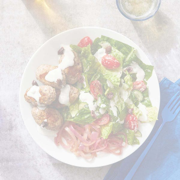 Turkey Kofta Salad with Tzatziki & Pickled Red Onion