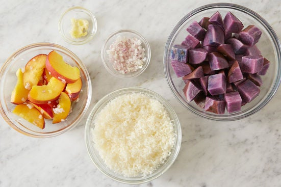 Prepare the ingredients & marinate the peach:
