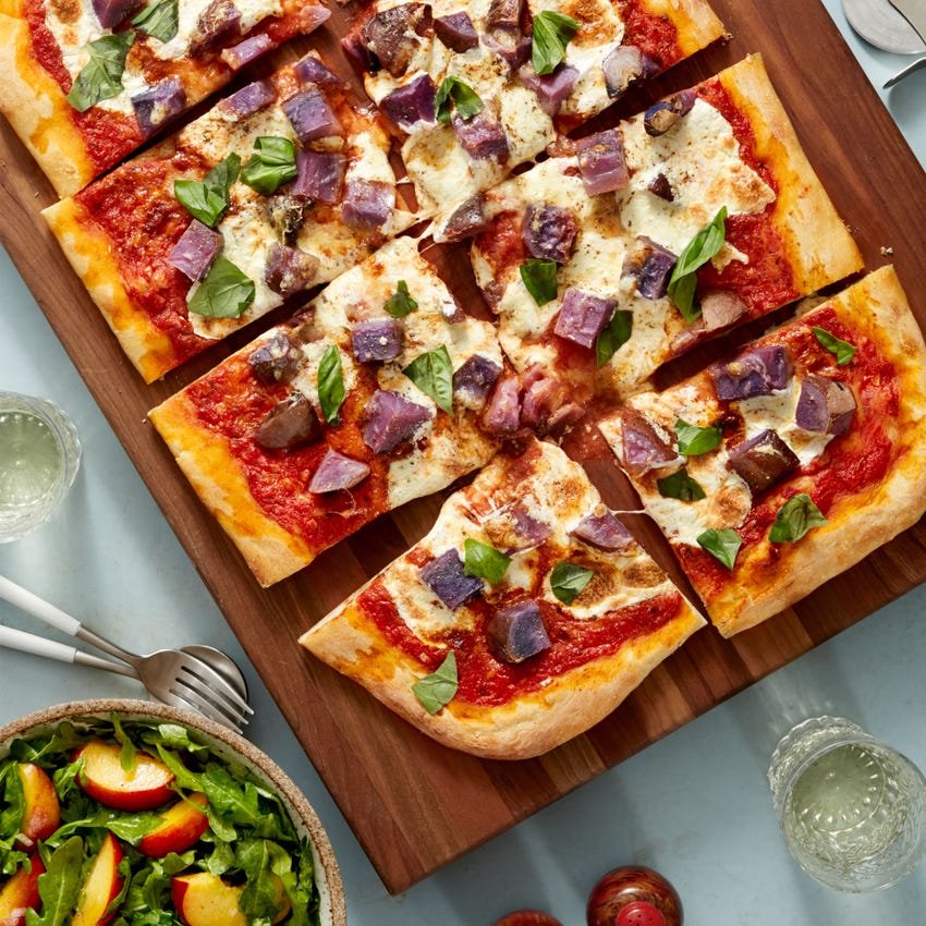 Red, White, & Blue Pizza with Peach & Arugula Salad
