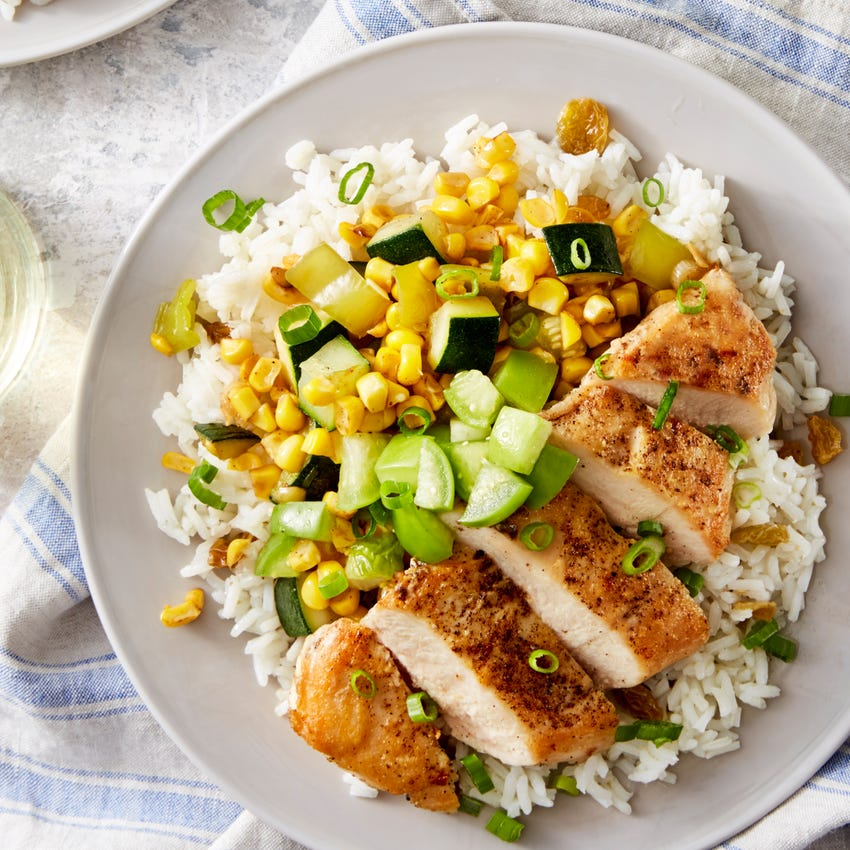 Seared Chicken & Tomatillo Salsa with Sweet Corn & Rice