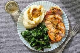 Lemon-Caper Pork with Mashed Potatoes & Kale