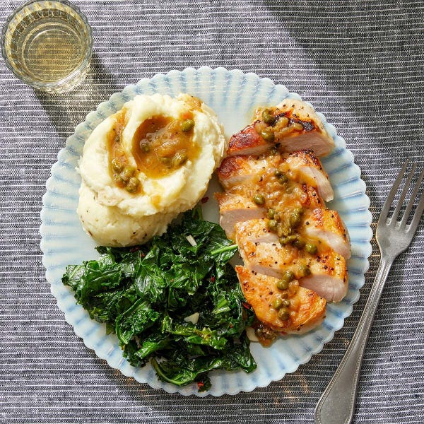 Lemon-Caper Pork with Mashed Potatoes & Kale