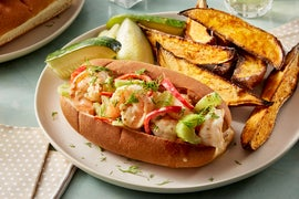Shrimp Rolls with Quick Pickles & Sweet Potato Wedges