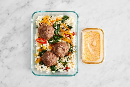 Assemble & Store the Spiced Meatballs & Veggie Rice: