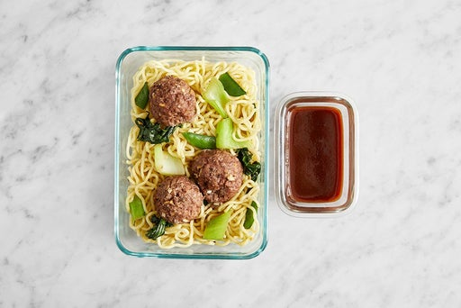 Assemble & Store the Meatballs & BBQ-Soy Sauce: