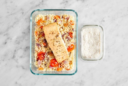 Assemble & Store the Roasted Salmon & Couscous: