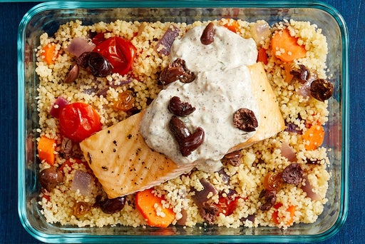 Finish & Serve the Roasted Salmon & Couscous: