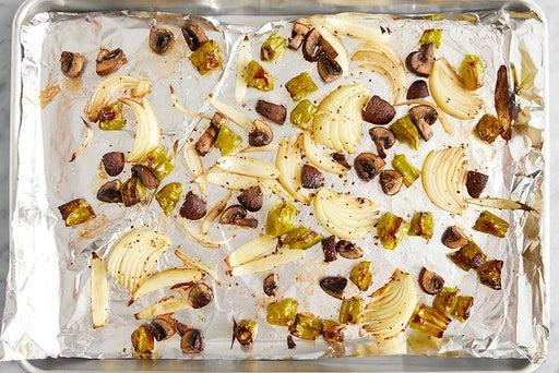 Roast the vegetables & finish the quinoa: