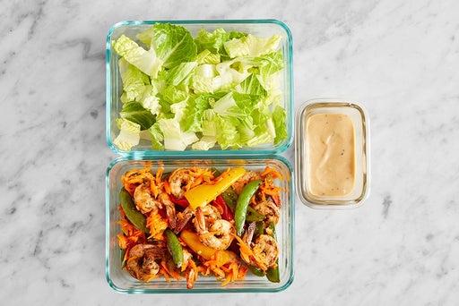 Assemble & Store the Spiced Shrimp Salad: