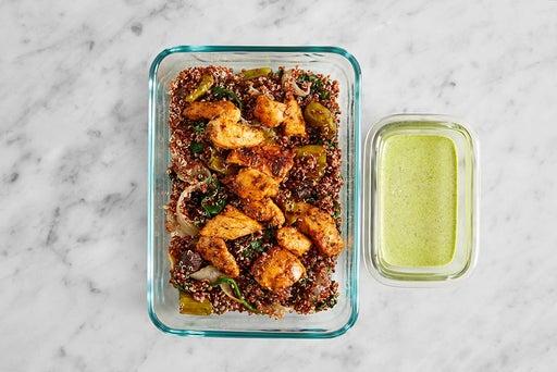Assemble & Store the Seared Chicken & Quinoa :