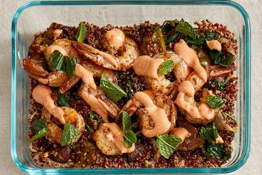 Finish & Serve the Za'atar Shrimp & Quinoa: