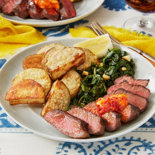 Chile Butter Steaks with Parmesan Potatoes & Spinach