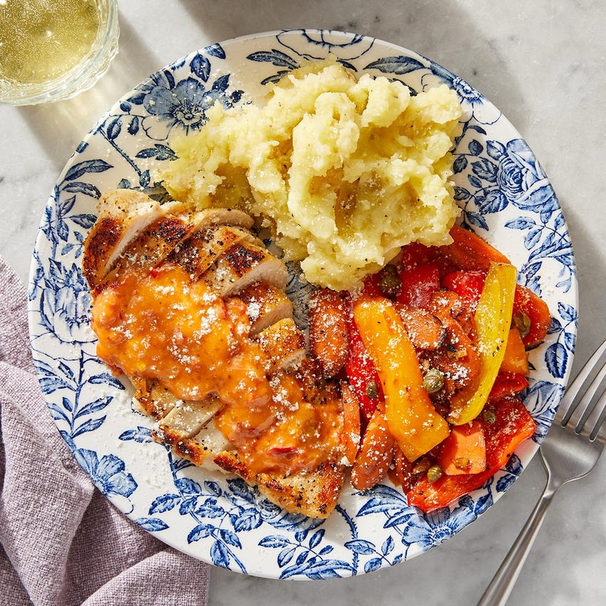 Calabrian-Fig Chicken & Mashed Potatoes with Carrots & Shishito Peppers